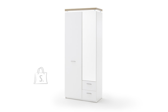 MCA Esikukapp CALI mattvalge / tamm, 75x38xH201 cm, LED