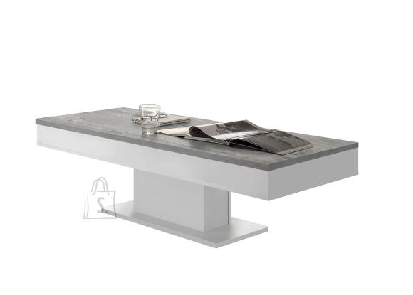 Mäusbacher Möbelfabrik Diivanilaud GRANNY mattvalge / betoon, 120x60xH40 cm