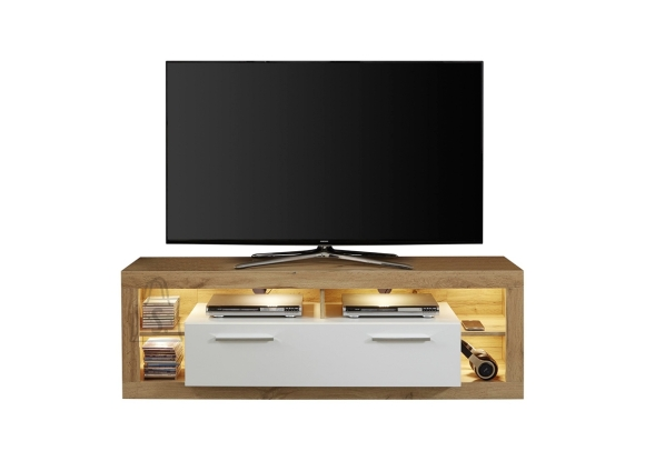 Trendteam Tv-alus ROCK valge läige / tamm, 150x44xH48 cm