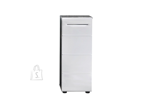 Trendteam Vannitoakapp NANO valge kõrgläige / hall, 32x28xH82 cm