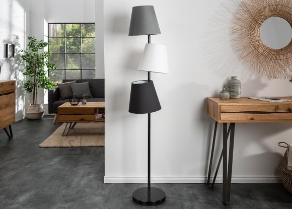 Põrandavalgusti LEVELS must / hall, 36x36xH163 cm, E27