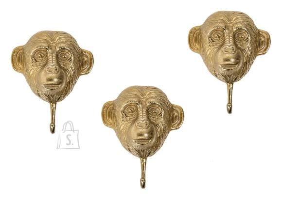 Seinanagid THREE APES kuldne, 20x8xH25 cm