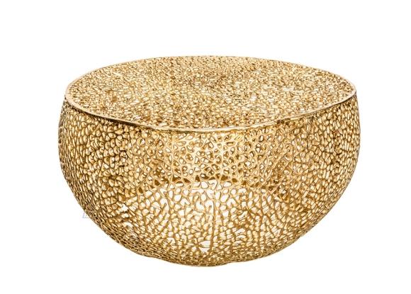 Diivanilaud LEAF kuldne, 80x80xH40 cm