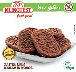 Mlinotest Kiudaineterikas hommikusöögiküpsis kookose ja kakaoga 156g