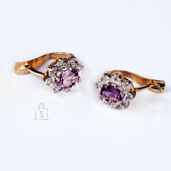 Kullast kõrvarõngad ametüstide ja teemantitega