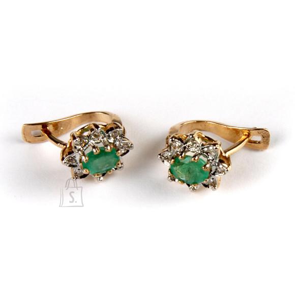 Kullast kõrvarõngad smaragtide ja teemantitega