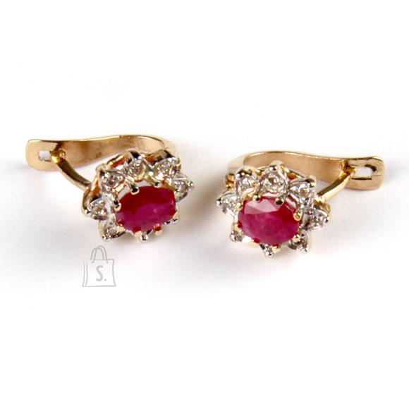 Kullast kõrvarõngad rubiinide ja teemantitega