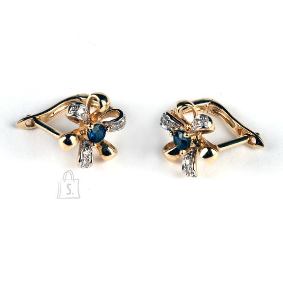 Kullast kõrvarõngad safiiride ja teemantitega