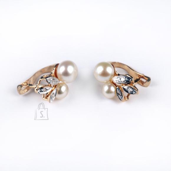 Kullast kõrvarüngad magevee pärlite ja teemantitega