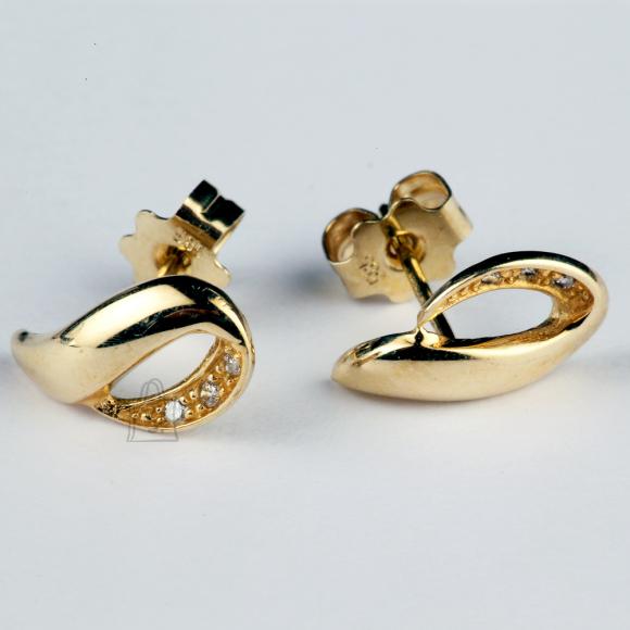 Kullast kõrvarõngad teemantitega
