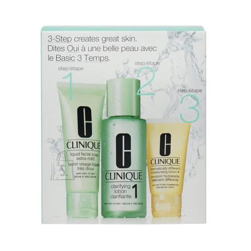 Clinique 3-Step Skin Care System näohoolduskomplekt kuivale nahale 180 ml