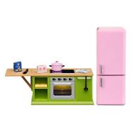 Lundby nukumaja Småland köök roosa külmetuskapp + pliit
