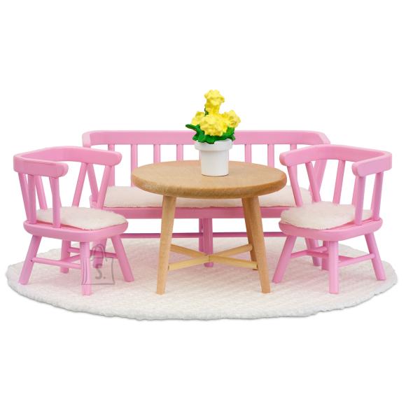 Lundby nukumaja Småland roosa köögimööbel