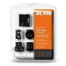 ACME ACME CH07 USB reisilaadija(EUR, USA, UK), 2xUSB pesa, 100-240V EOL