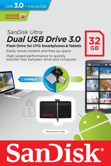 SanDisk Cruzer Ultra Android Dual USB Drive USB 3.0 32GB