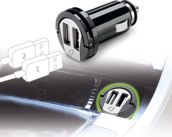 Cellularline Cellular USB autolaadija 2-le USB-le 12/24V/2A