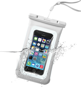 "Cellularline Cellularline vee- ja tolmukindel kott mobiiltelefonidele kuni 5,8"", 3,5mm pesa, valge EOL"