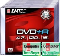 Emtec EMTEC DVD+R 4,7GB/16x slim 10-pakk EOL