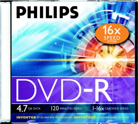 Philips DVD-R Philips 4,7GB/16X slim karp EOL