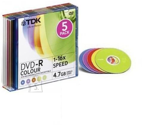 TDK TDK DVD-R 4,7GB/16X Slim,värviline, 5-pakk EOL