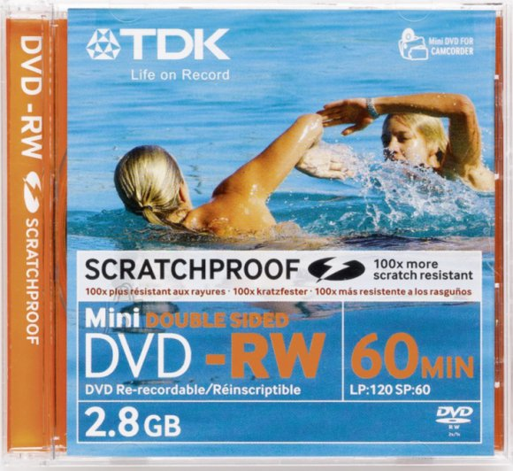 TDK TDK DVD-RW 2,8GB MINI, Double Sided,Scratchproof EOL