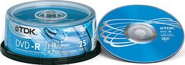 TDK TDK DVD-R 4,7BG/16X 25-torn EOL