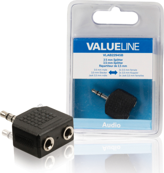 Valueline Valueline VLAB22945B 3,5mm otsik - 2x 3,5mm pesa