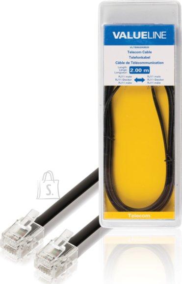 Valueline Valueline VLTB90200B20 telefoni seinakaabel must 2m