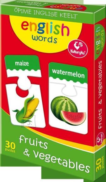 Kukuryku Piltpuzzle 30 inglise sõna-puuviljad/köögiviljad