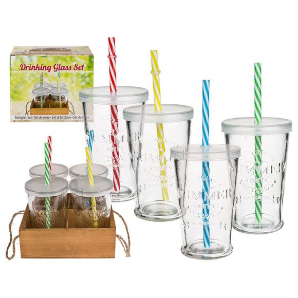 OOTB Joogiklaaside kmpl puidust alusel kõrre ja plastkaanega, 4x 275ml,Summer Party