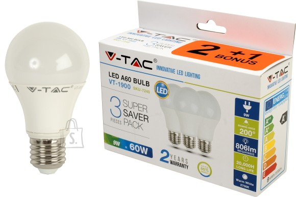 V-Tac LED lamp 3-pakk, E27/9W/806lm