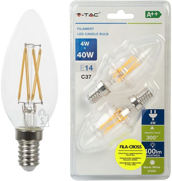 V-Tac LED lamp 2-pakk E14/4W/400lm/4W/Filament Candle