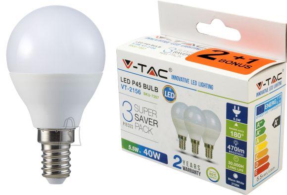 V-Tac LED lamp 3-pakk, E14 Globe/5,5W/470lm