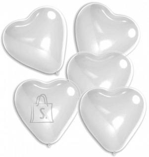 Amscan Õhupall Süda 30cm, valge, plastikust varrega, 5tk