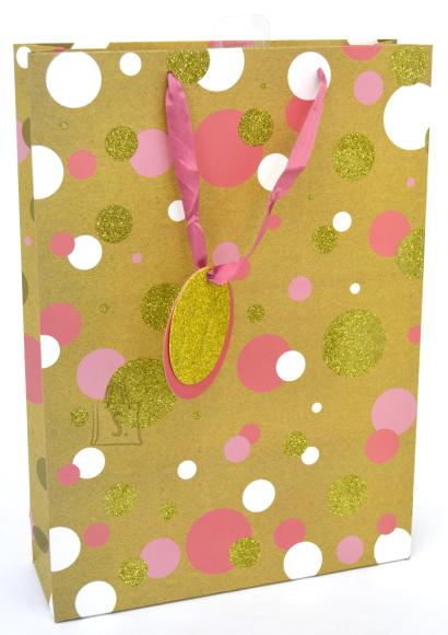 Eurowrap parfüümi kinkekott Kraft Pink/Gold Spot