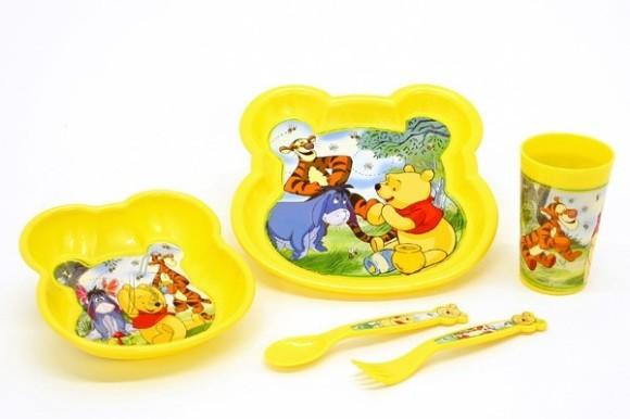 Stor Sööginõude kompl. 5-osal. (taldrik, kauss, tops, lusikas, kahvel), plastik, Disney WinniePooh