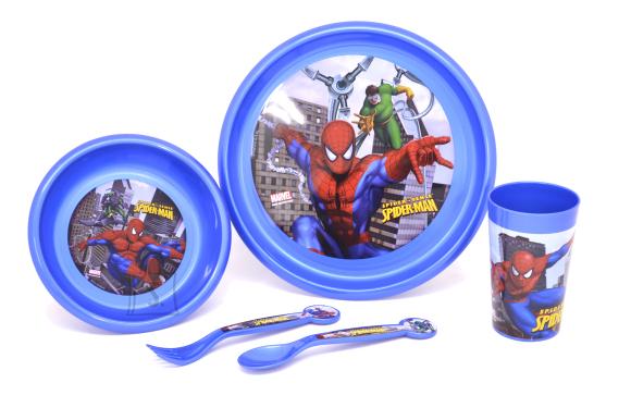 Stor sööginõude kompl. 5-osal. (taldrik, kauss, tops, lusikas, kahvel), plastik, Disney Spiderman