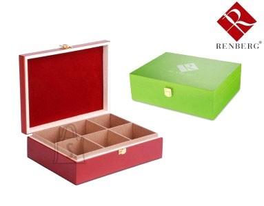 Renberg Teekarp 25*19*8cm (2x3 lahtrit) punane/roheline, puidust