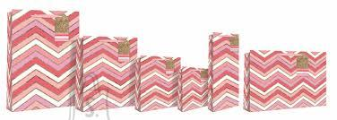 Eurowrap Pudeli kinkekott CHEVRON roosad triibud
