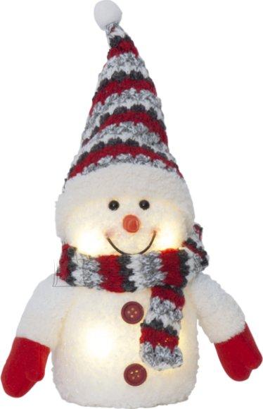 Star Lumememm pun. mütsiga. H 25cm. 4 sooja valget LED tuld, pat.toide 3xAAA (ei kuulu kompl.), or.tööaeg 200h, 4,5V DC/0,24W, IP20