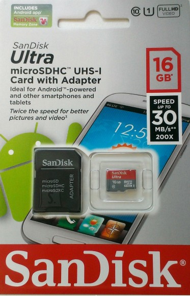 SanDisk SanDisk SD Micro Ultra Android XC 16GB+SD adapter (30MB/s,UHS 1) EOL