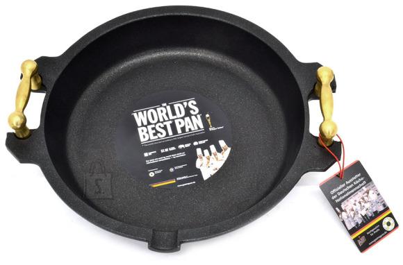 Worlds Best Pan Pann Paella 28 x 5cm, valualumiinium, paksus 9-10mm, kuldsete sangadega, mittenakkuv Lotan kate