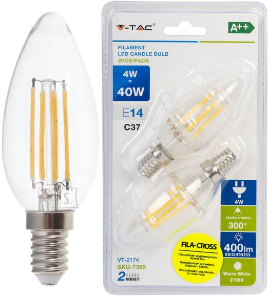 V-Tac LED lamp 2-pakk E14/4W/400lm/4W/Filament Candle
