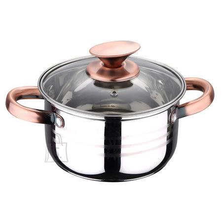 Renberg pott 6,1L/ 5L mõõteskaala 24x13,5cm Ind, klaaskaanega, Copper