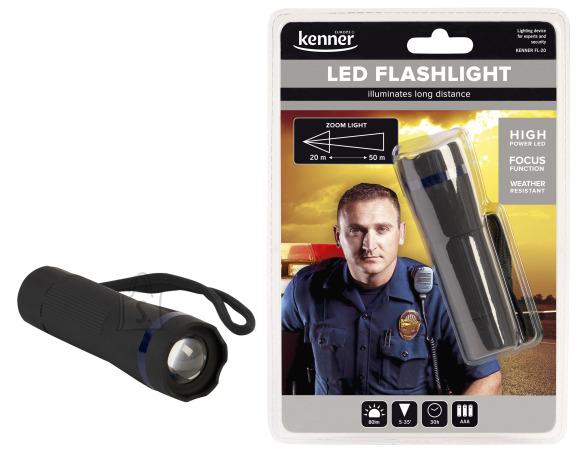 Kenner LED taskulamp zoomiga 3xAAA, 80lm