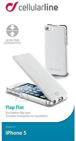 Cellularline Cellular iPhone 5 ümbris, Flap slim (magnetiga), valge EOL