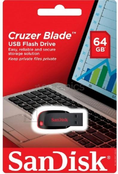 SanDisk Mälupulk Sandisk Cruzer Blade 64GB, USB 2.0