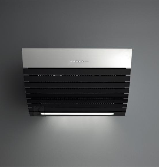 Falmec Seina õhupuhastaja SHARK 75cm, 800m3/h, LED riba 14W (5500K), rv teras AISI304/must klaas