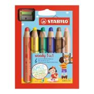 Stabilo paksud 3 ühes värvipliiatsid Woody + teritaja 6 värvi