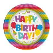 SusyCard taldrik Happy Birthday 23cm/8tk